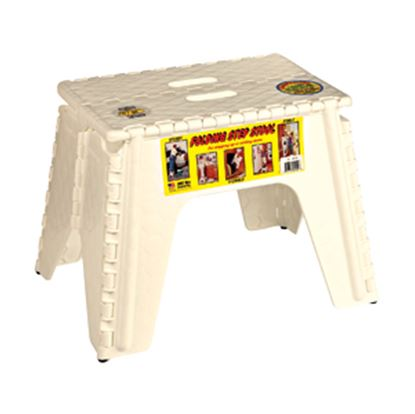 "Picture of B&R Plastics EZ-Foldz 12""H Beige Plastic Folding Step Stool 103-6BG 03-1003"