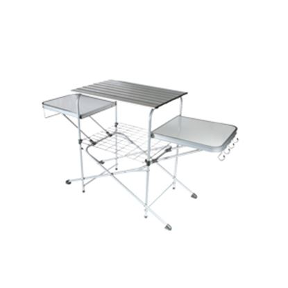 """Picture of Camco  57-3/4""""L x 19""""W x 32""""H Polished Aluminum/Steel Folding Grill Table 57293 03-1021"""