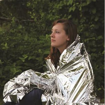 """Picture of Camco  52"""" x 84"""" Metallic Silver Mylar Emergency Blanket 51322 03-1469"""