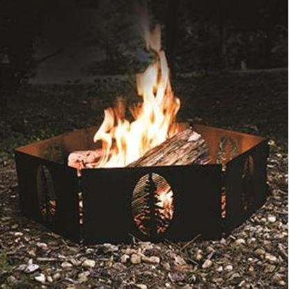 """Picture of Camco  27""""Dia Steel 6 Piece Hinged Fire Ring w/ Tree Cut-Outs 51091 06-0111"""
