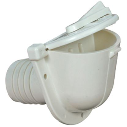 Picture of Camco  Colonial White Plastic Flush Mount Fill Spout Fresh Water Inlet 37002 10-0751