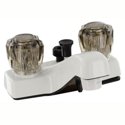 """Picture of Phoenix Faucets  White w/Smoke Knobs 4"""" Lavatory Faucet PF212242 10-1373"""