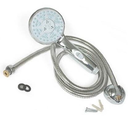 """Picture of Camco  Chrome Handheld Shower Head w/5 Spray Settings & 60"""" Hose 43713 10-1661"""