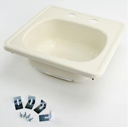 "Picture of Better Bath  14-11/16"" Square Parchment ABS Plastic Outdoor Kitchen Sink 209356 10-5709"