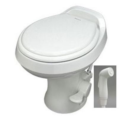"Picture of Dometic 300 Series Bone 18"" Pedal Flush Permanent Toilet w/ Hand Sprayer 302300173 12-0018"