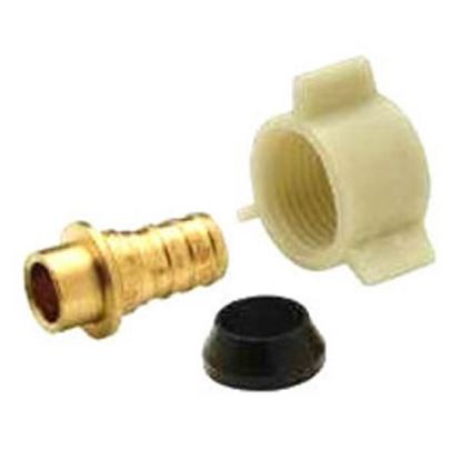 "Picture of QEST XL Brass 1/2"" Hose Barb x 1/2"" FPT Swivel Plastic Nut Brass Fresh Water Straight Fitting  14-2364"