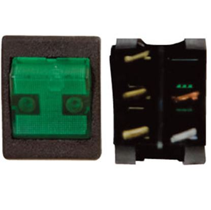 Picture of Diamond Group  Black/ Green 125V/ 20A SPDT Lighted Rocker Switch For Battery/ Monitor Panels 44A-28V 19-2926
