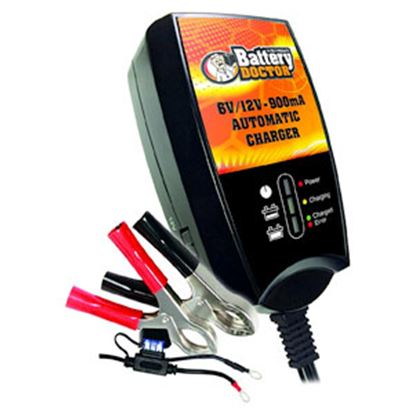 Picture of Battery Doctor  Black CEC 6/12V 900MA Smart Battery Charger 20026 19-3921