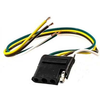 """Picture of Camco  4-Way Flat Car End Trailer Connector w/12"""" Wire Lead 64850 19-7579"""