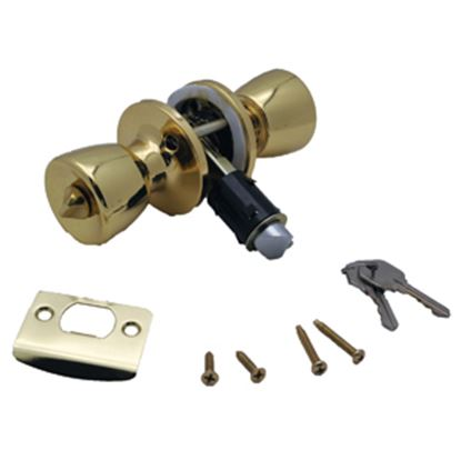 Picture of AP Products  Brass Keyed/Knob Entry Door Lock 013-220 20-5030