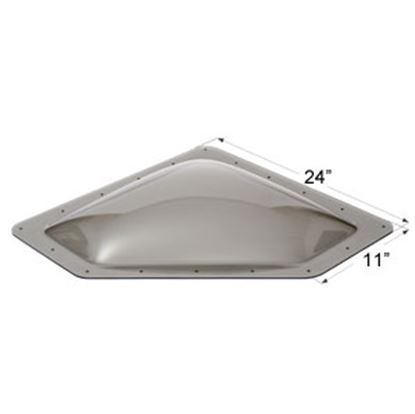 """Picture of Icon  4""""H Bubble Dome Neo Angle Smoke PC Skylight w/11"""" X 24"""" Flange 12114 22-0038"""