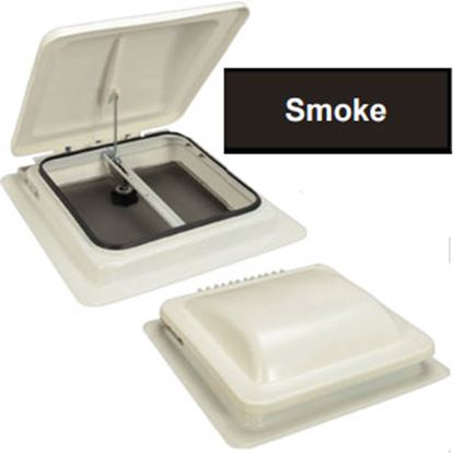 """Picture of MaxxAir  Smoke 15-1/2""""L x 14-3/4""""W x 3.55""""H Roof Vent Lid 00-335002 22-0444"""