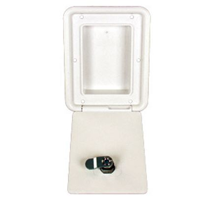 """Picture of JR Products  Polar White 4-3/8""""RO Lockable OEM Utility Hatch Access Door D6102-A 22-0551"""