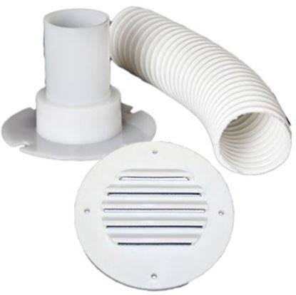 """Picture of MTS  Colonial White Battery Box Louvered Vent w/9"""" Hose 275 69-9322"""